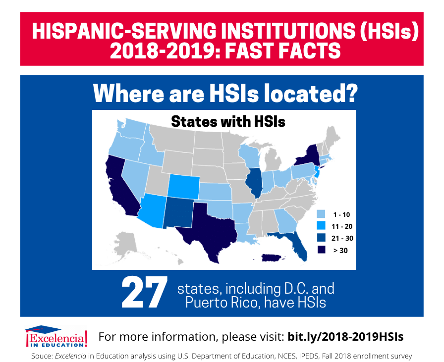 Infographic - Hispanic-Serving Institutions (HSIs) 2018-2019 Locations