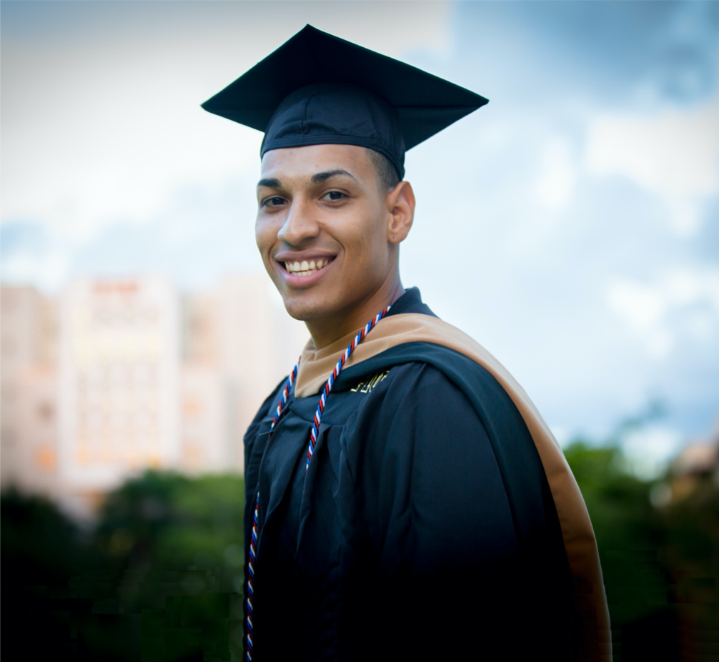 Latino male graduate