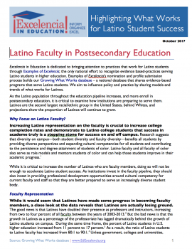 Latino Faculty in Postsecondary Education