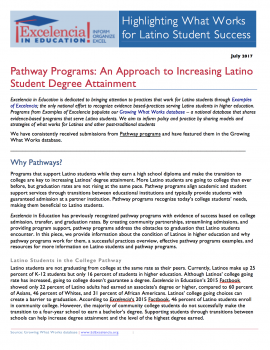 Pathway Programs: An Approach to Increasing Latino Student Degree Attainment