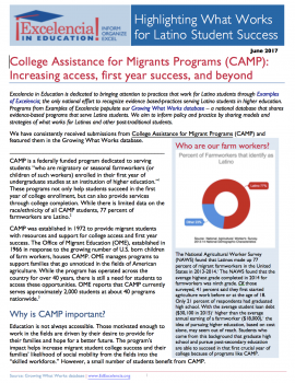 What Works for Latino Students - College Assistance Migrant Programs (CAMP)